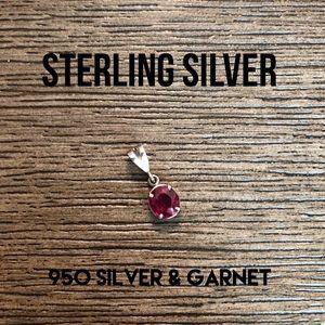 950 Sterling Silver Garnet Pendant Charm
